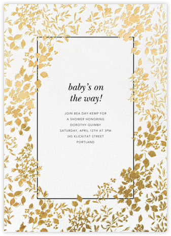 Richmond Park - White/Gold - Oscar de la Renta - Baby Shower Invitations