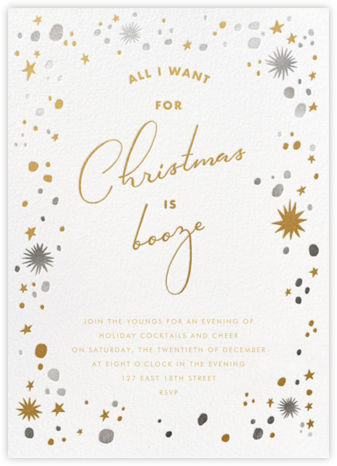 All I Want For Christmas is Booze - Paperless Post - Christmas invitations