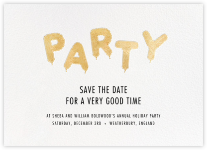 Mylar Party - Gold - Paperless Post - Holiday save the dates