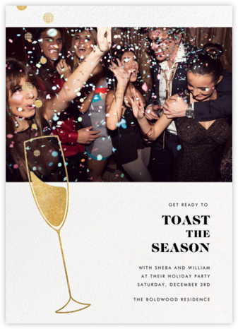 Champagne Bubbles (Photo) - Gold - Paperless Post - Holiday save the dates