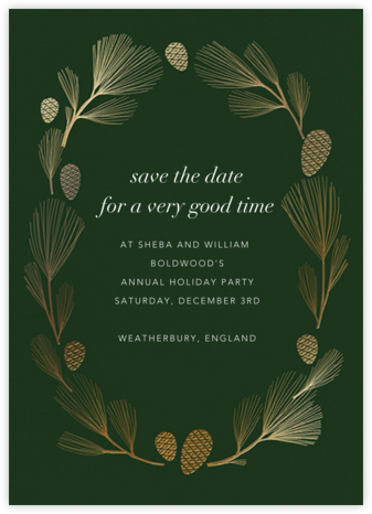 Sugar Pine - Hunter/Gold - Paperless Post - Holiday Save the Dates