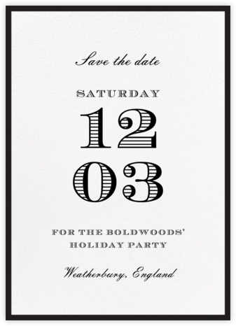 Contorno - Black - Paperless Post - Holiday Save the Dates