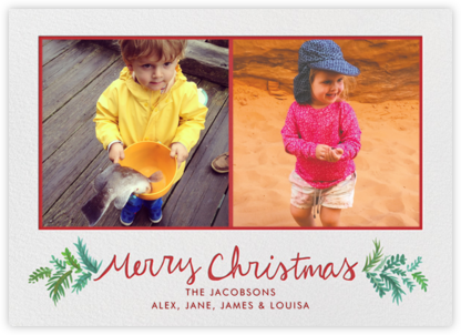 Merry Christmas Sprigs - Linda and Harriett - Photo Christmas cards