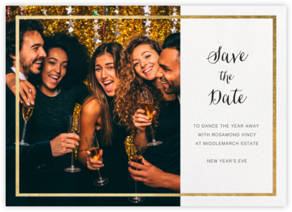 Idylle (Photo Save the Date) - White/Gold - Paperless Post - Holiday Save the Dates