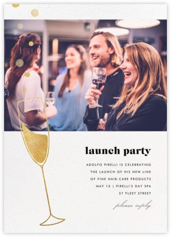 Champagne Bubbles (Photo) - Gold - Paperless Post - Launch Party Invitations