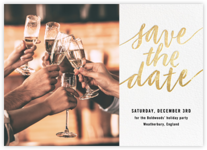 Evelina (Photo) -  White/Gold - Paperless Post - Holiday save the dates