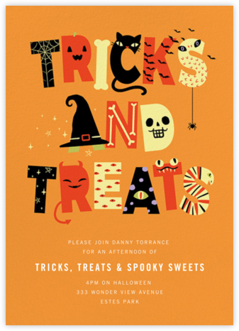 Tricky Letters - Paperless Post - Halloween invitations