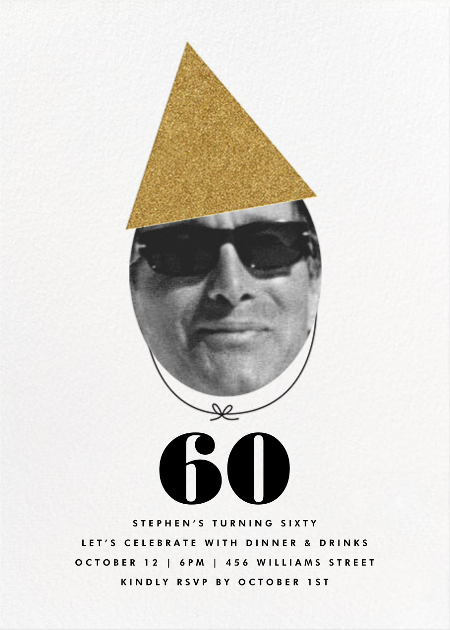 New Party Hat (Photo) - Gold - The Indigo Bunting - Adult birthday invitations