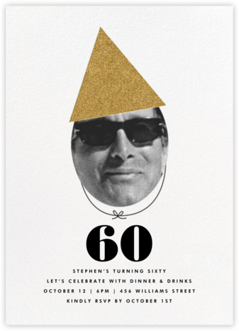 New Party Hat (Photo) - Gold - The Indigo Bunting - Milestone birthday invitations