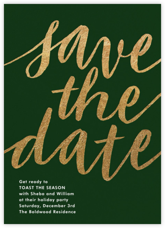 Evelina - Hunter Green - Paperless Post - Holiday save the dates