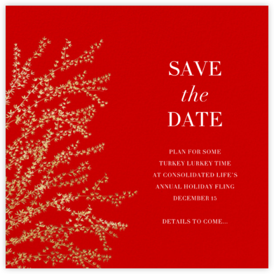 Forsythia - Red/Gold - Paperless Post - Holiday save the dates