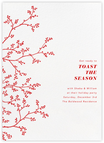 Winter Berries - White - Paperless Post - Holiday save the dates