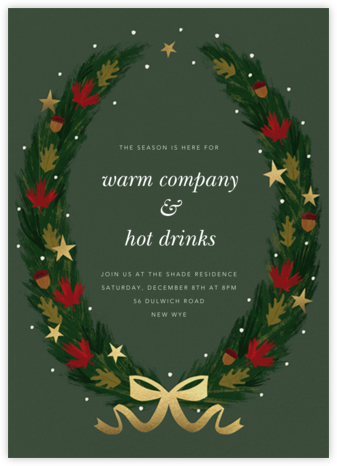 Maple Wreath - Paperless Post - Holiday Invitations