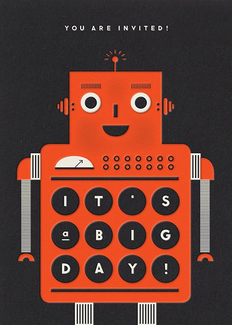 Robot - Orange - The Indigo Bunting - Kids' birthday invitations