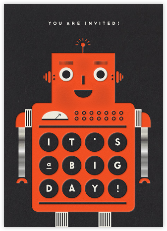 Robot - Orange - The Indigo Bunting - Kids' Birthday Invitations