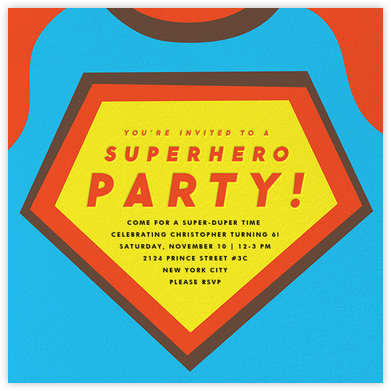 Superhero (Square) - The Indigo Bunting - Online Kids' Birthday Invitations