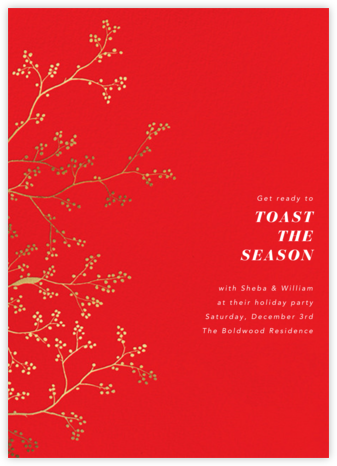 Winter Berries - Red - Paperless Post - Holiday save the dates