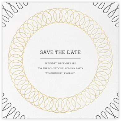 Spirals (Square) - Gold - Paperless Post - Holiday save the dates