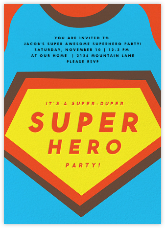 Superhero (Tall) - The Indigo Bunting - Kids' Birthday Invitations