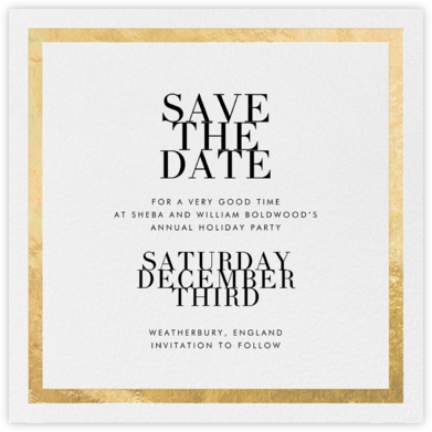 Editorial II (Save the Date) - White/Gold - Paperless Post - Holiday Save the Dates