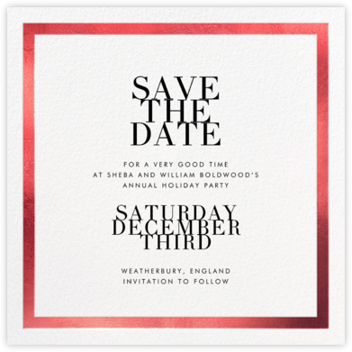 Editorial II (Save the Date) - White/Red - Paperless Post - Professional party invitations and cards