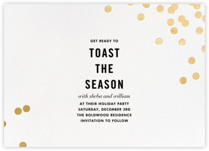 Confetti (Save the Date) - White/Gold - kate spade new york - Holiday Save the Dates