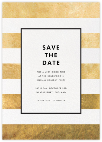 Stripe Suite (Save the Date) - Gold - kate spade new york - Holiday Save the Dates