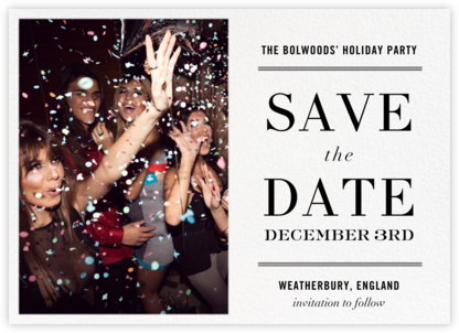 Typographic II (Photo Save the Date) - White - kate spade new york - Holiday save the dates