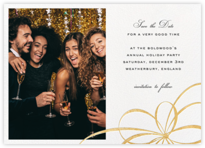 Belle Boulevard (Photo Save the Date) - Gold - kate spade new york - Holiday Save the Dates