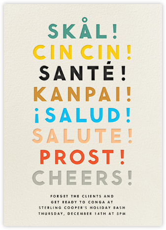 Cheers Language - Cream - The Indigo Bunting - Happy Hour Invitations