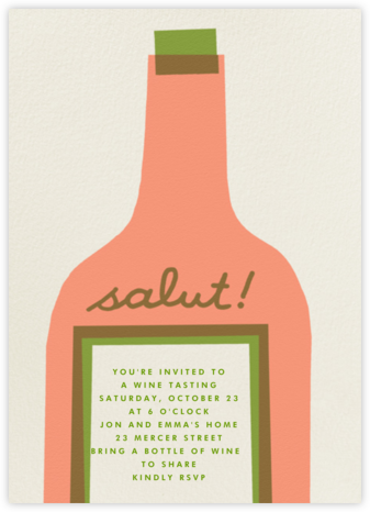 Wine Salut - Peach - The Indigo Bunting - Dinner Party Invitations