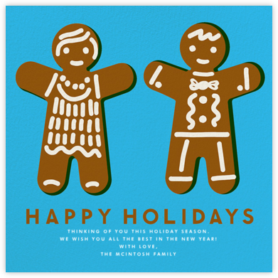 Gingerbread - Happy Holidays (Turquoise) - The Indigo Bunting - Holiday Cards