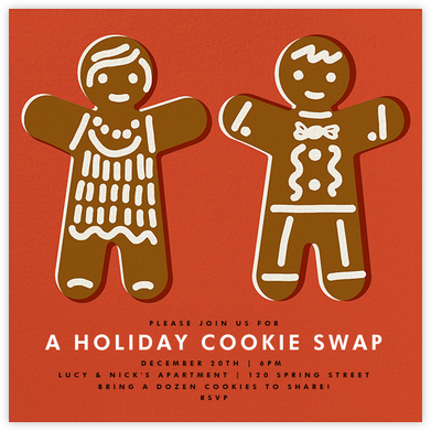 Gingerbread Invite - Blood Orange - The Indigo Bunting - Cookie Swap Invitations