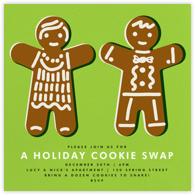 Gingerbread Invite - Leaf Green - The Indigo Bunting - Cookie Swap Invitations