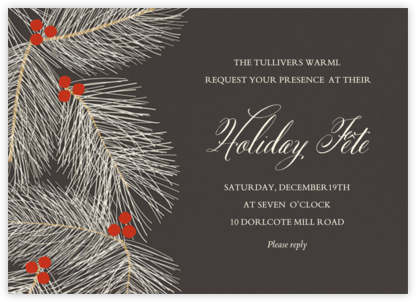 Slate Pine Branches - Paper Source - Holiday Invitation Templates