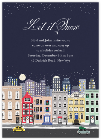 Snowy City - Paper Source - Online Party Invitations