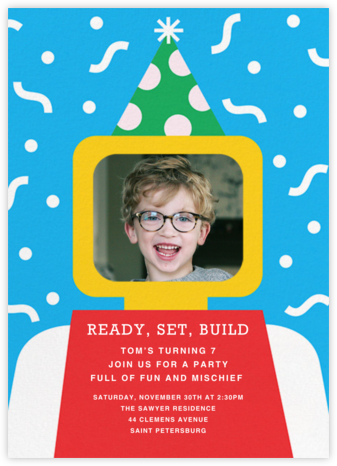 Building Block Party Photo - Paperless Post - Online Kids' Birthday Invitations