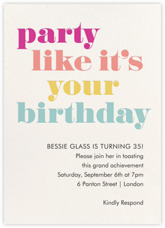 It's Your Birthday - Paper Source - Adult Birthday Invitations