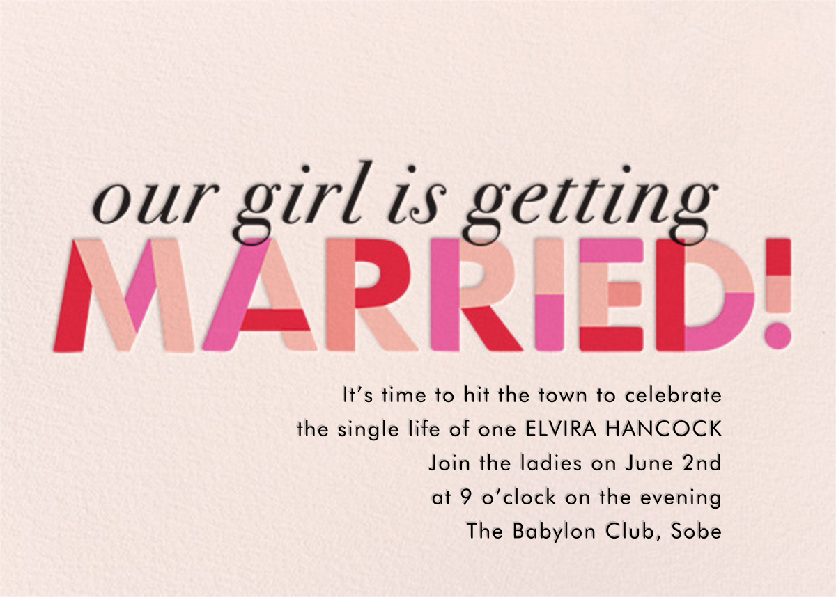 Bachelorette party invitations online at Paperless Post