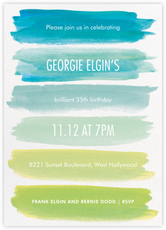 Rainbow Brushstrokes - Blue - Paper Source - Adult Birthday Invitations