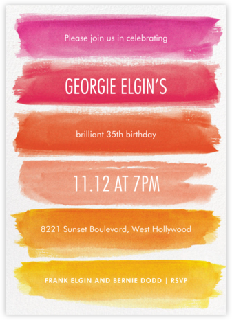 Rainbow Brushstrokes - Pink - Paper Source - Adult Birthday Invitations