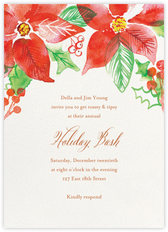 Watercolor Pointsettia - Paper Source - Holiday invitations