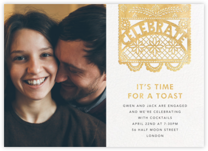 Papel Picado (Photo) - Gold - Paperless Post - Engagement party invitations