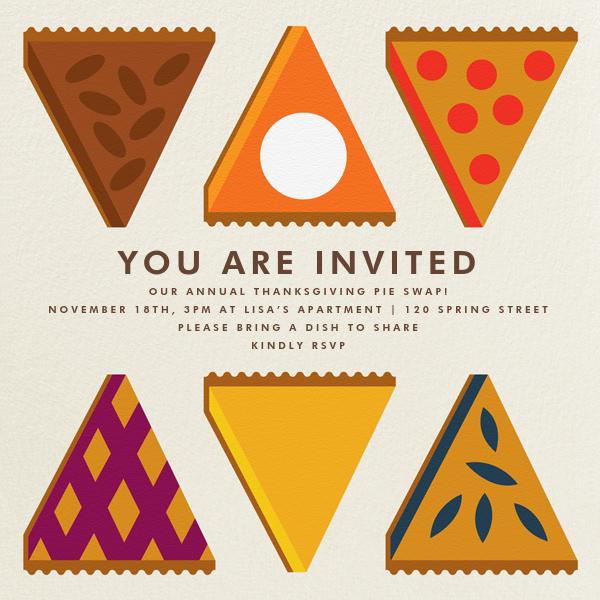 Pie Swap - The Indigo Bunting - Thanksgiving invitations