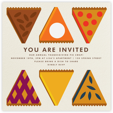 Pie Swap - The Indigo Bunting - Thanksgiving invitations