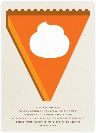 Pumpkin Pie - The Indigo Bunting - Thanksgiving invitations