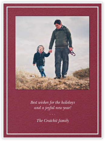 Double Border Square Photo - Cranberry - Paperless Post - Holiday Cards