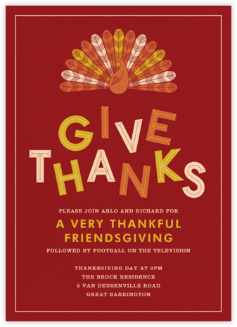 Turkey Feathers - Crate & Barrel - Thanksgiving invitations