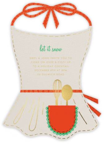 Apron Strings - Cream - Paperless Post - Holiday invitations