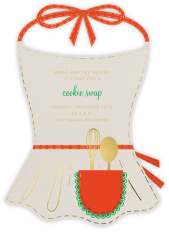 Apron Strings - Cream - Paperless Post - Cookie swap invitations
